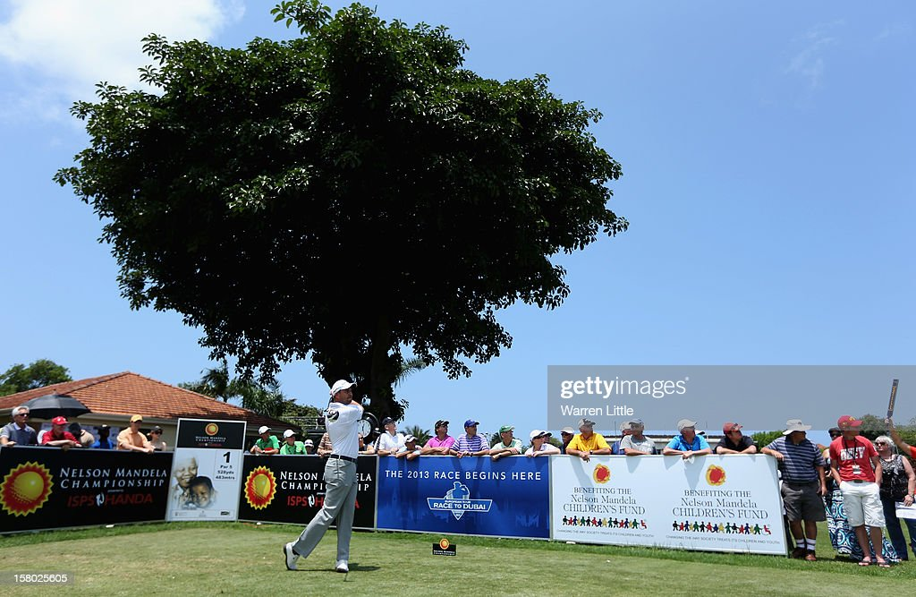 David Howell of England tees off on the first hole during the second round of The Nelson Mandela Championship presented by ISPS Handa at Royal Durban Golf Club on December 9, 2012 in Durban, South Africa.
