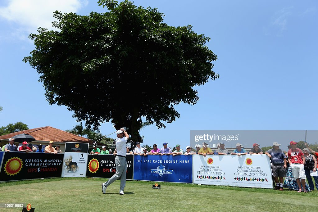 David Howell of England tees off ont he first hole during the second round of The Nelson Mandela Championship presented by ISPS Handa at Royal Durban Golf Club on December 9, 2012 in Durban, South Africa.