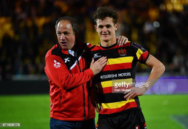 David Humphreys Gloucesters Director of Rugby celebrates with Billy Burns of Gloucester during the European Rugby Challenge Cup Semi Final match...