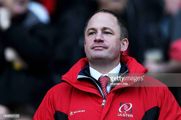 David Humphreys the Ulster Director of Rugby looks on during the Heineken Cup quarter final match between Saracens and Ulster at Twickenham Stadium...