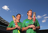 David Hussey and Cameron White of the Stars cricket team pose during a Melbourne Stars press conference at the Melbourne Cricket Ground on July 17...