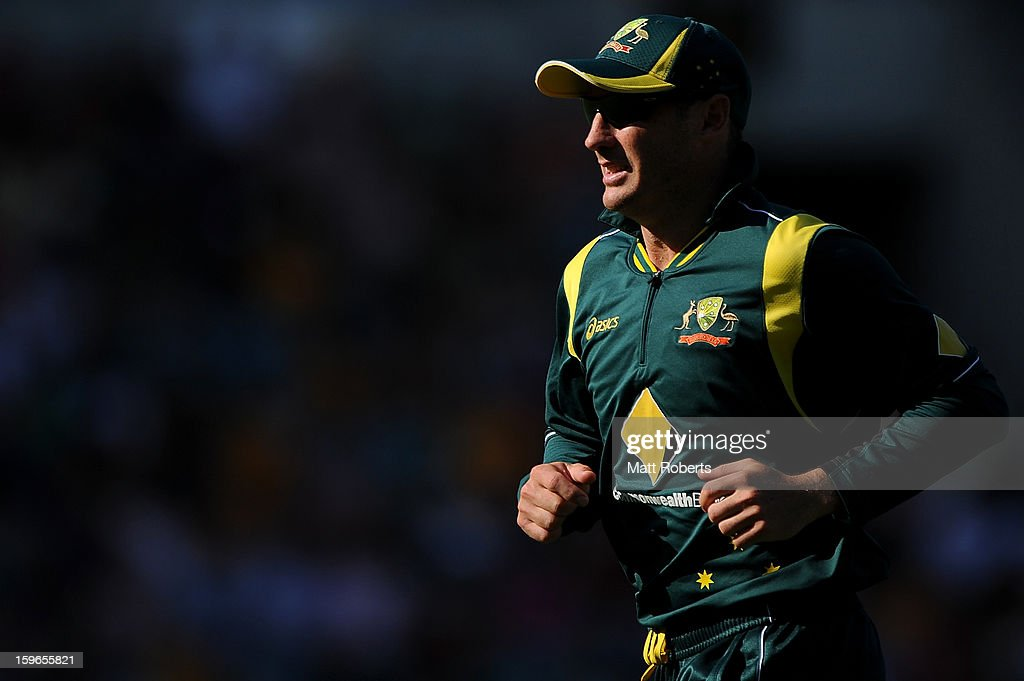 <a gi-track='captionPersonalityLinkClicked' href=/galleries/search?phrase=David+Hussey&family=editorial&specificpeople=193810 ng-click='$event.stopPropagation()'>David Hussey</a> of Australia runs during game three of the Commonwealth Bank One Day International Series between Australia and Sri Lanka at The Gabba on January 18, 2013 in Brisbane, Australia.