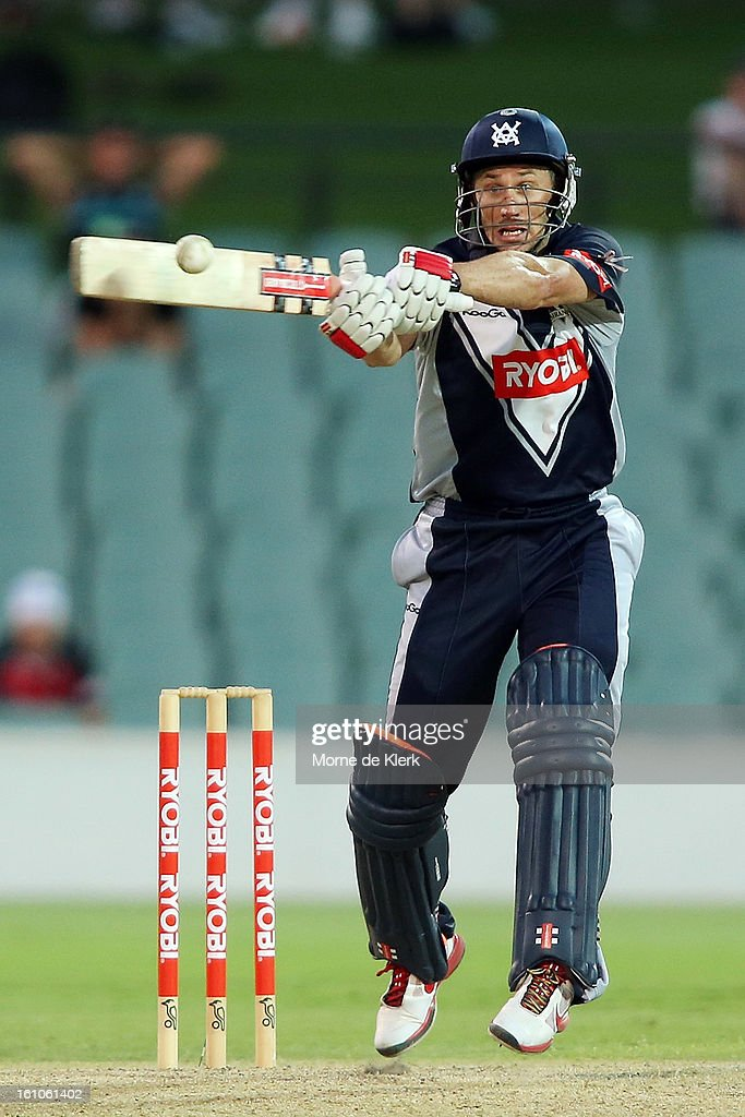 <a gi-track='captionPersonalityLinkClicked' href=/galleries/search?phrase=David+Hussey&family=editorial&specificpeople=193810 ng-click='$event.stopPropagation()'>David Hussey</a> of the Bushrangers bats during the Ryobi One Cup Day match between the South Australian Redbacks and the Victorian Bushrangers at Adelaide Oval on February 9, 2013 in Adelaide, Australia.