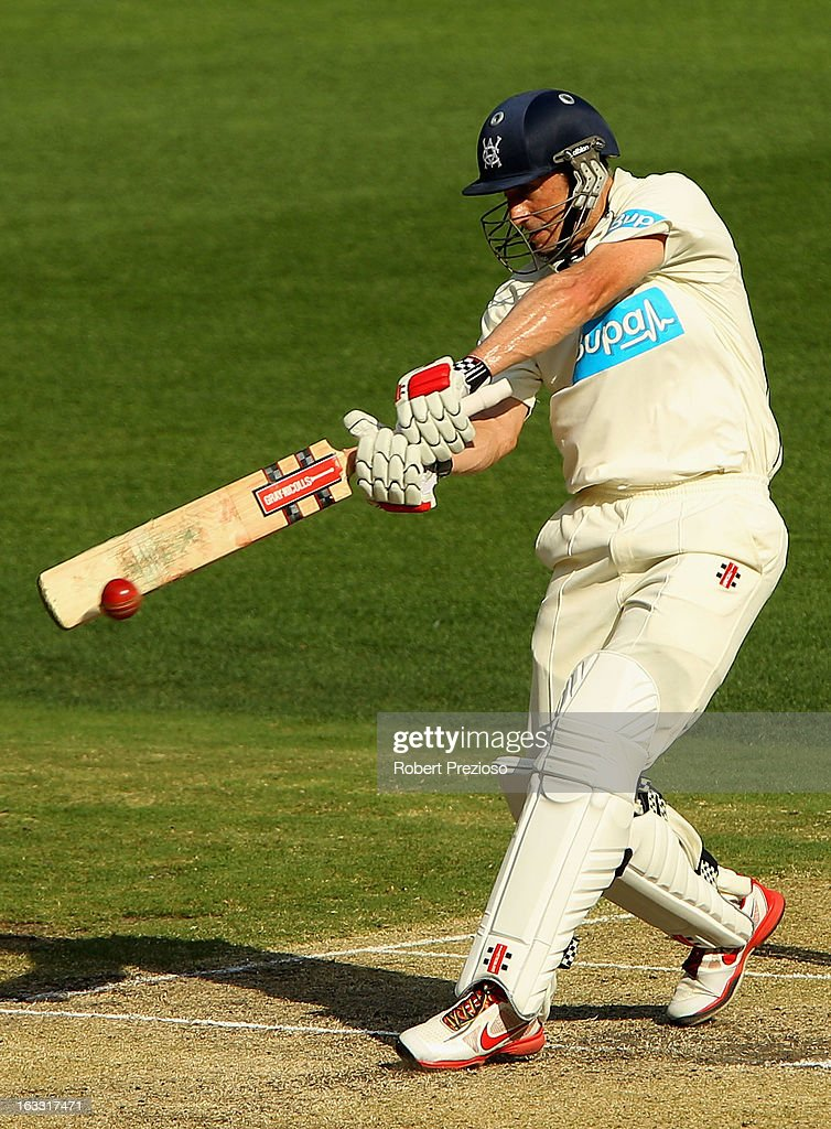 <a gi-track='captionPersonalityLinkClicked' href=/galleries/search?phrase=David+Hussey&family=editorial&specificpeople=193810 ng-click='$event.stopPropagation()'>David Hussey</a> of the Bushrangers plays a shot during day two of the Sheffield Shield match between the Victorian Bushrangers and the New South Wales Blues at Melbourne Cricket Ground on March 8, 2013 in Melbourne, Australia.