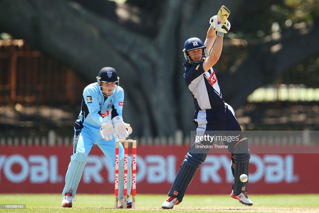 <a gi-track='captionPersonalityLinkClicked' href=/galleries/search?phrase=David+Hussey&family=editorial&specificpeople=193810 ng-click='$event.stopPropagation()'>David Hussey</a> of the Bushrangers plays an on drive during the Ryobi Cup match between the New South Wales Blues and the Victorian Bushrangers at North Sydney Oval on October 20, 2013 in Sydney, Australia.