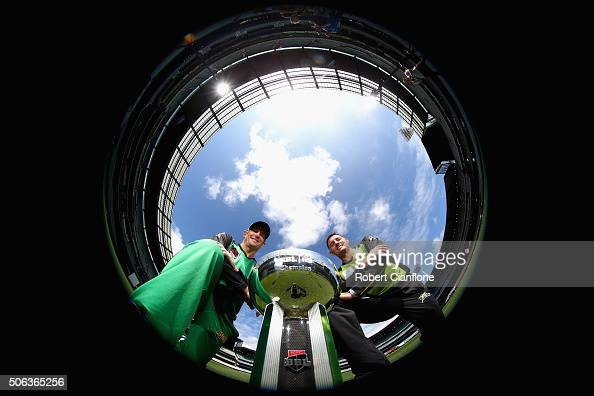 David Hussey of the Melbourne Stars and Mike Hussey of the Sydney Thunder pose during a media opportunity ahead of the 2016 Big Bash League Final at...