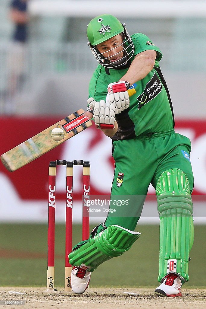 David Hussey of the Melbourne Stars hits a six during the Big Bash League match between the Melbourne Stars and the Melbourne Renegades at Melbourne Cricket Ground on January 6, 2013 in Melbourne, Australia.