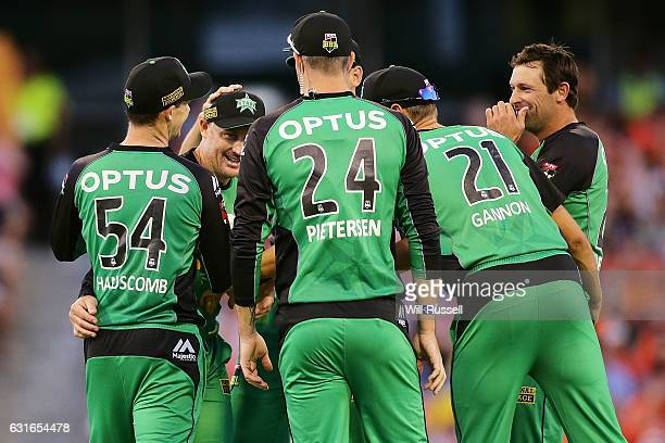 David Hussey of the Stars celebrates after taking a catch to dismiss Andrew Tye of the Scorchers off the bowling of Ben Hilfenhaus of the Stars...