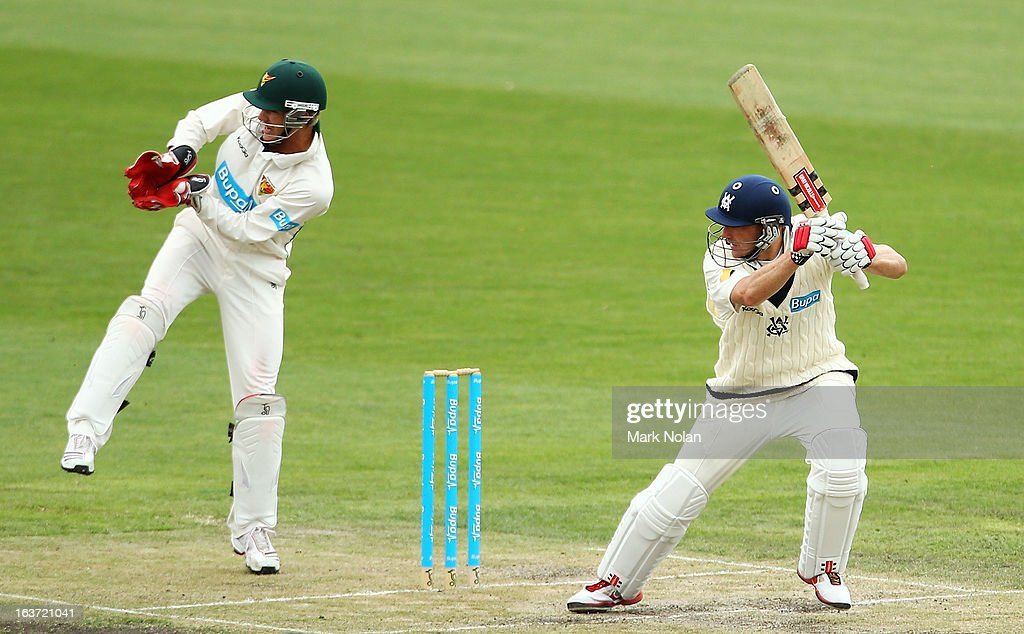 <a gi-track='captionPersonalityLinkClicked' href=/galleries/search?phrase=David+Hussey&family=editorial&specificpeople=193810 ng-click='$event.stopPropagation()'>David Hussey</a> of Victoria bats during day two of the Sheffield Shield match between the Tasmania Tigers and the Victoria Bushrangers at Blundstone Arena on March 15, 2013 in Hobart, Australia.