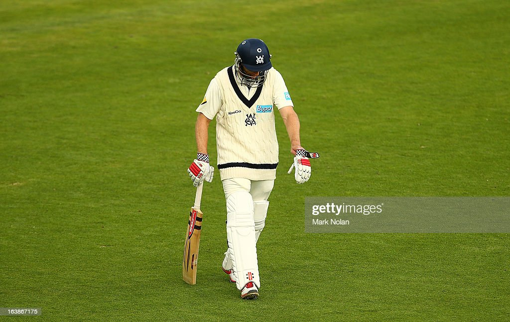 David Hussey of Victoria looks dejected as he walks from the field during day four of the Sheffield Shield match between the Tasmania Tigers and the Victoria Bushrangers at Blundstone Arena on March 17, 2013 in Hobart, Australia.