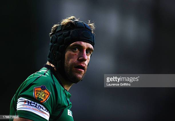 David Jackson of Nottingham Rugby looks on during the pre season friendly match between Nottingham Rugby and London Irish at Meadow Lane on August 16...
