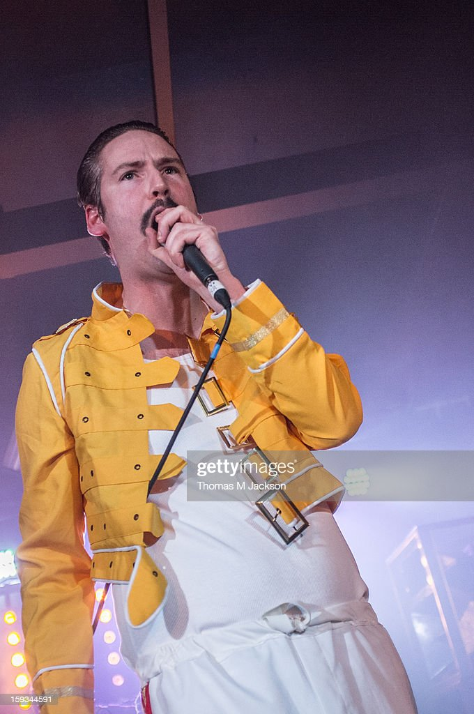 David Jaff' Craig of The Futureheads performs on stage as Freddie Mercury of Queen at St. Os Fest 2013 on January 11, 2013 in Newcastle upon Tyne, England.