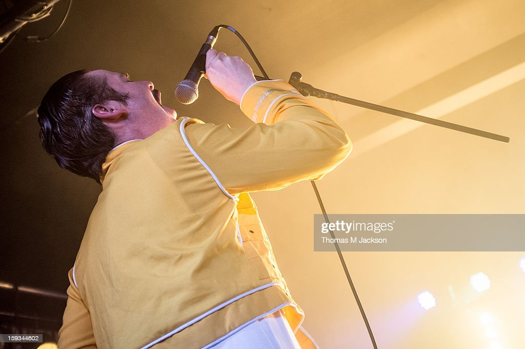 David 'Jaff' Craig of The Futureheads performs on stage as Freddie Mercury of Queen at St. Os Fest 2013 on January 11, 2013 in Newcastle upon Tyne, England.