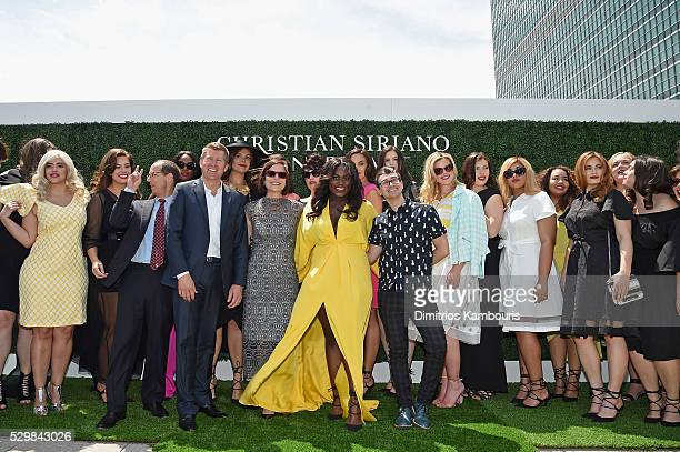 David Jaffe Brian Beitler Linda Heasley Danielle Brooks Christian Siriano Candice Huffine and Ashley Graham attend the Christian Siriano x Lane...