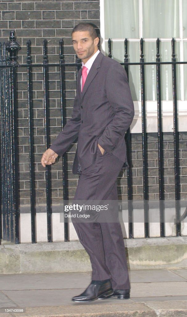 David James arrives at 10 Downing Street in central London, February 2, 2006, to meet Prime Minister Tony Blair and other guests from the world of sport, politics and the media to discuss preparations for the World Cup 2006 held in Germany.