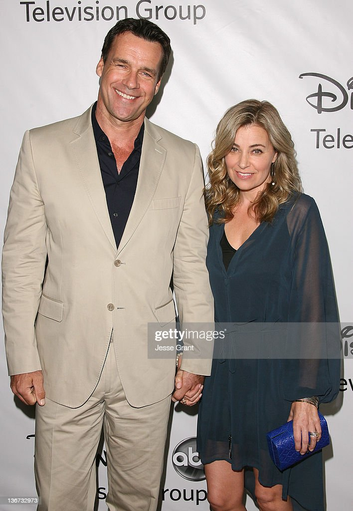 David James Elliott (L) and guest arrive to Disney ABC Television Group's 'TCA Winter Press Tour' at the Langham Huntington Hotel on January 10, 2012 in Pasadena, California.
