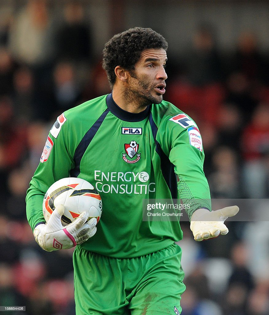 <a gi-track='captionPersonalityLinkClicked' href=/galleries/search?phrase=David+James+-+Soccer+Player&family=editorial&specificpeople=13655581 ng-click='$event.stopPropagation()'>David James</a> of Bournemouth looks to get the game goingduring the npower League One match between Brentford and Bournemouth at Griffin Park on January 01, 2013 in London England.