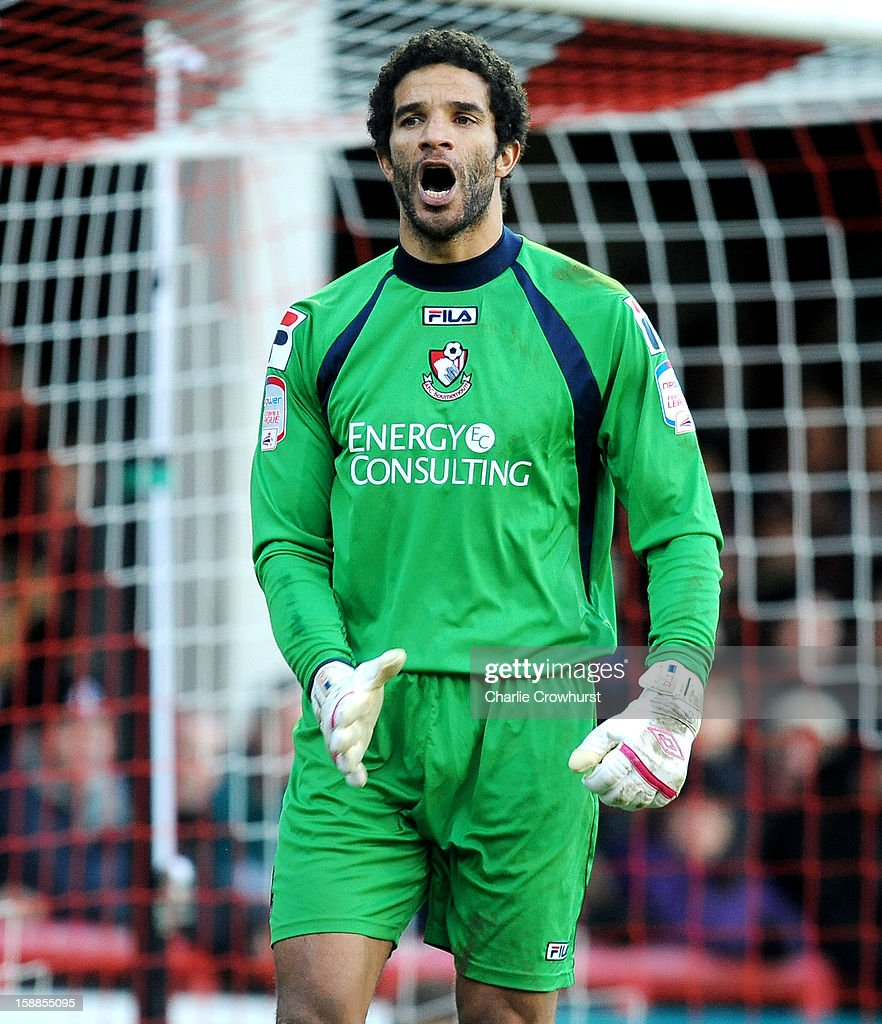 <a gi-track='captionPersonalityLinkClicked' href=/galleries/search?phrase=David+James+-+Soccer+Player&family=editorial&specificpeople=13655581 ng-click='$event.stopPropagation()'>David James</a> of Bournemouth shouts at his defence during the npower League One match between Brentford and Bournemouth at Griffin Park on January 01, 2013 in London England.