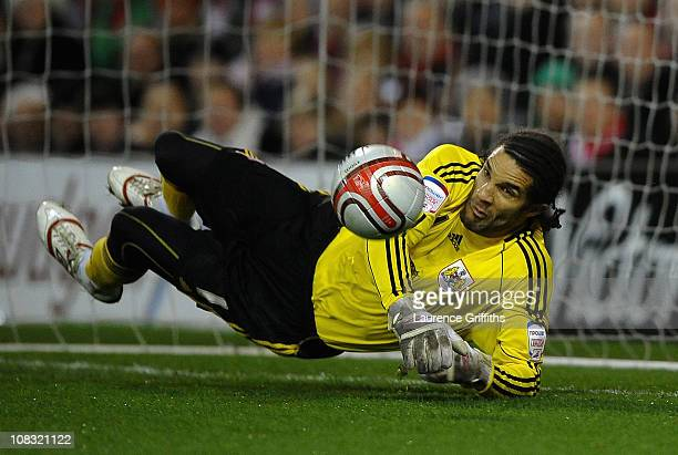 David James of Bristol City makes a diving save during the npower Championship match between Nottingham Forest and Bristol City at City Ground on...