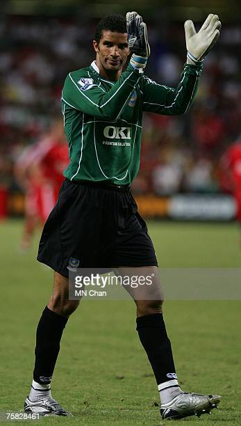 David James of Portsmouth in action during the preseason Barclays Asia Trophy final match between Liverpool FC and Portsmouth FC at Hong Kong Stadium...