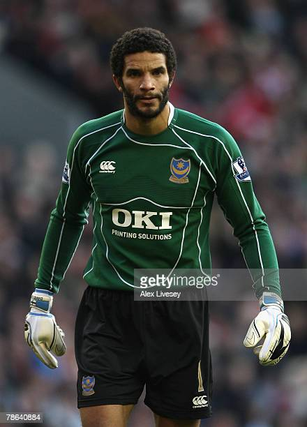 David James of Portsmouth looks on during the Barclays Premier League match between Liverpool and Portsmouth at Anfield on December 22 2007 in...