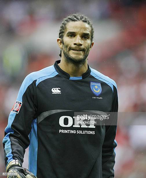 David James of Portsmouth prepares for a penalties round during their FA Community Shield match against Manchester United at Wembley Stadium in...