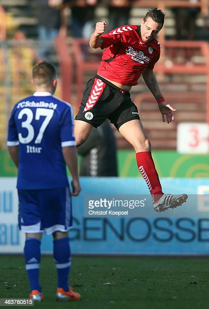 David Jansen of Oberhausen celebrates the first goal during the friendly match between RW Oberhausen and FC Schalke 04 at Niederrhein Stadion on...