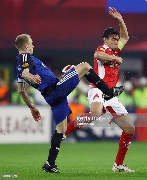 David Jarolim of Hamburg and Igor De Camargo of Liege in action during the UEFA Europa League quarter final second leg match between Standard Liege...