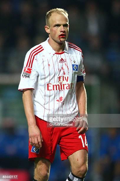 David Jarolim of Hamburg has a bloody face after a foul during the Bundesliga match between 1899 Hoffenheim and Hamburger SV at the CarlBenzStadium...