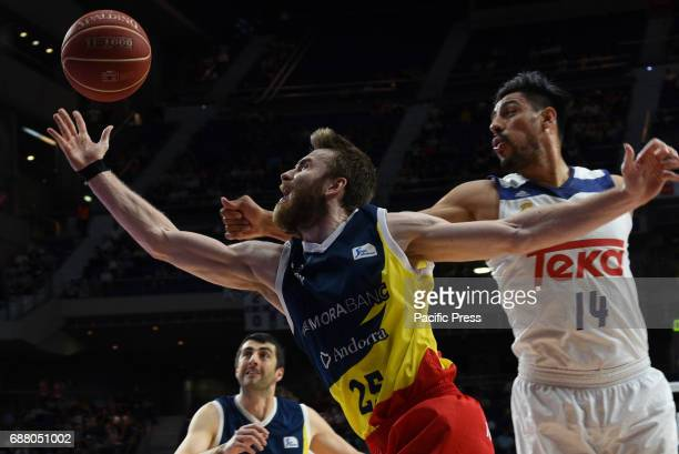 David Jelinek #25 of Morabanc Andorra in action during the first game of the quarter final of basketball Endesa league between Real Madrid and...