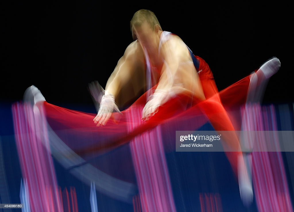 David Jessen competes on the high bar in the junior men finals during the 2014 P&G Gymnastics Championships at Consol Energy Center on August 24, 2014 in Pittsburgh, Pennsylvania.