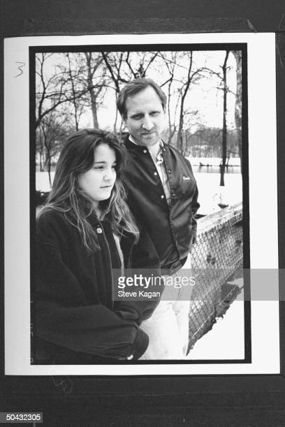 David Jewell standing nr his 12yrold daughter Kiri by fence in yard at home Jewell fought for custody of Kiri won when it was discovered that David...