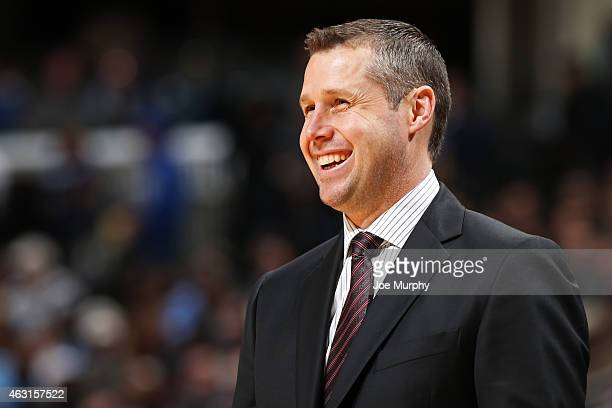 David Joerger head coach of the Memphis Grizzlies during the game against the Brooklyn Nets on February 10 2015 at FedExForum in Memphis Tennessee...