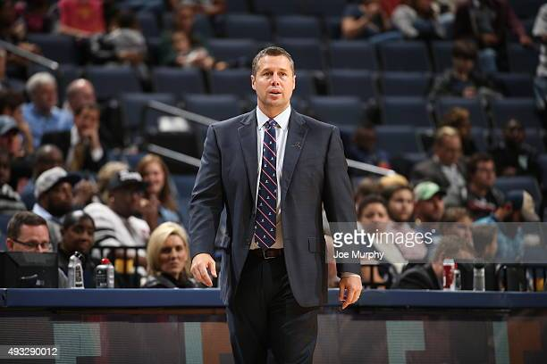 David Joerger of the Memphis Grizzlies during the preseason game against the Minnesota Timberwolves on October 18 2015 at FedExForum in Memphis...