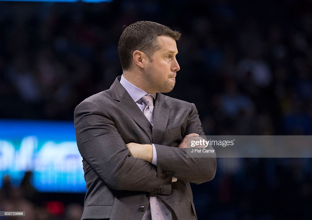 <a gi-track='captionPersonalityLinkClicked' href=/galleries/search?phrase=David+Joerger&family=editorial&specificpeople=4024956 ng-click='$event.stopPropagation()'>David Joerger</a> of the Memphis Grizzlies reacts as he watches game action against the Oklahoma City Thunder during the first quarter of a NBA game at the Chesapeake Energy Arena on January 6, 2016 in Oklahoma City, Oklahoma.