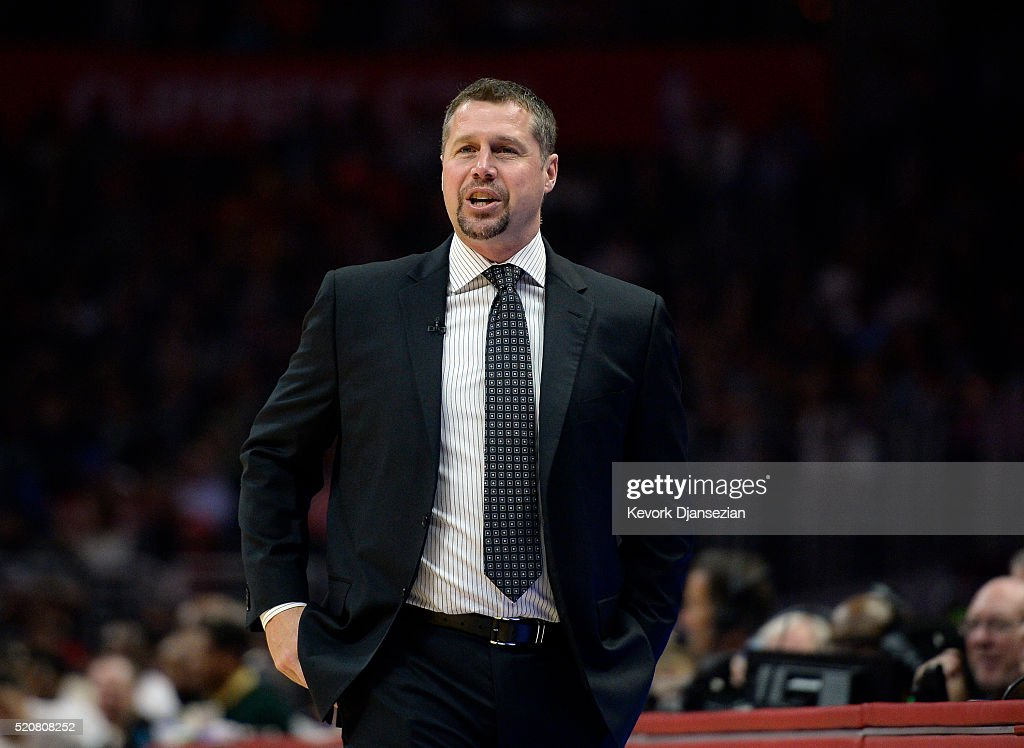 <a gi-track='captionPersonalityLinkClicked' href=/galleries/search?phrase=David+Joerger&family=editorial&specificpeople=4024956 ng-click='$event.stopPropagation()'>David Joerger</a> of the Memphis Grizzlies reacts during the first half of the basketball game against Los Angeles Clippers at Staples Center April 12, 2016, in Los Angeles, California.