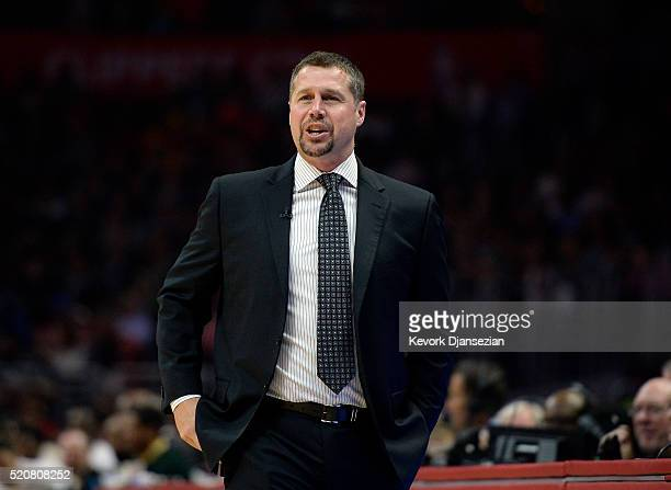 David Joerger of the Memphis Grizzlies reacts during the first half of the basketball game against Los Angeles Clippers at Staples Center April 12 in...