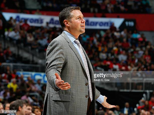 David Joerger of the Memphis Grizzlies reacts during the game against the Atlanta Hawks at Philips Arena on March 12 2016 in Atlanta Georgia NOTE TO...