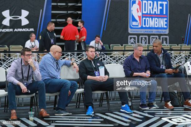 David Joerger of the Sacramento Kings and Brett Brown of the Philadelphia 76ers look on during the NBA Draft Combine at the Quest Multisport Center...