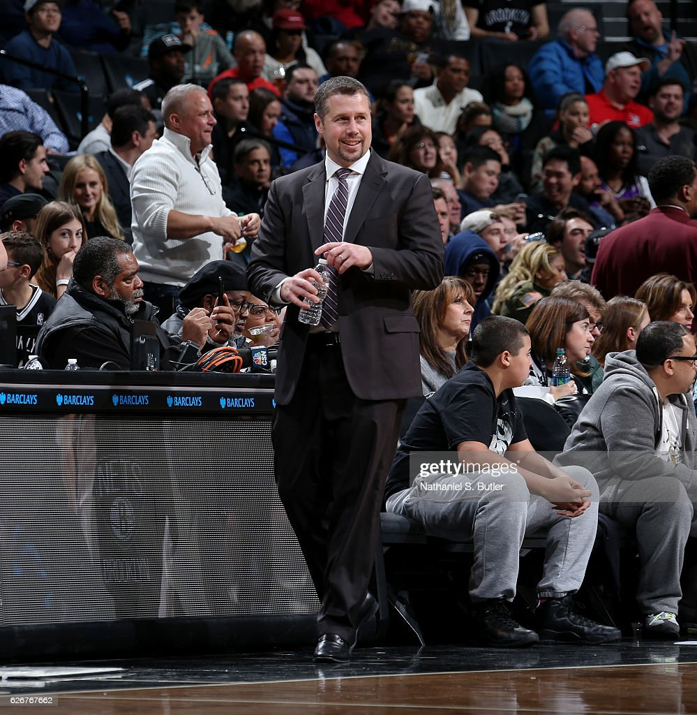 David Joerger of the Sacramento Kings coaches during the game against the Brooklyn Nets on November 27, 2016 at Barclays Center in Brooklyn, NY.