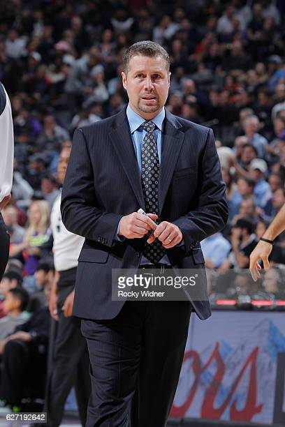 David Joerger of the Sacramento Kings coaches during the game against the Oklahoma City Thunder on November 23 2016 at Golden 1 Center in Sacramento...