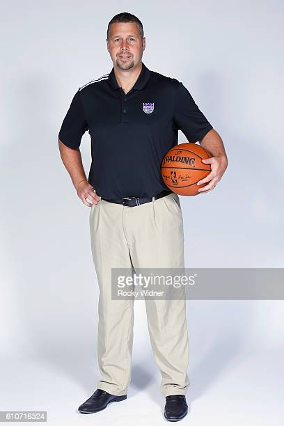 David Joerger of the Sacramento Kings poses for a portrait on NBA media day on September 26 2016 at the Kings practice facility in Sacramento...