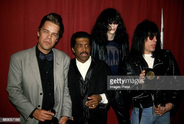 David Johansen Ben E King Joey Ramone and Tommy Ramone attend the 1988 New York Music Awards circa 1988 in New York City