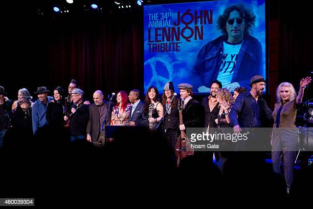 David Johansen Marshall Crenshaw Kate Pierson Ben E King Maura Kennedy Joan Osborne Rich Pagano and Debbie Harry perform during the 34th Annual John...