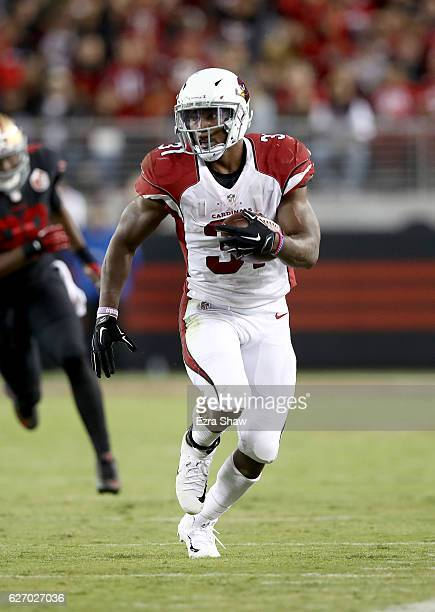 David Johnson of the Arizona Cardinals in action against the San Francisco 49ers at Levi's Stadium on October 6 2016 in Santa Clara California
