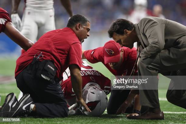 David Johnson of the Arizona Cardinals is attended to by medical staff after a second half injury while playing the Detroit Lions at Ford Field on...