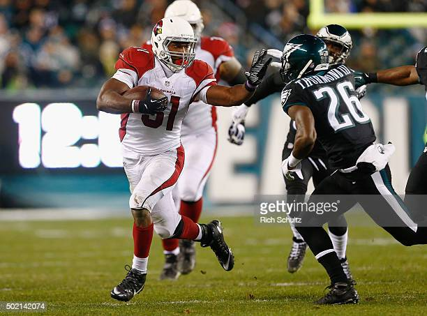 David Johnson of the Arizona Cardinals runs the ball against Walter Thurmond of the Philadelphia Eagles in the third quarater at Lincoln Financial...