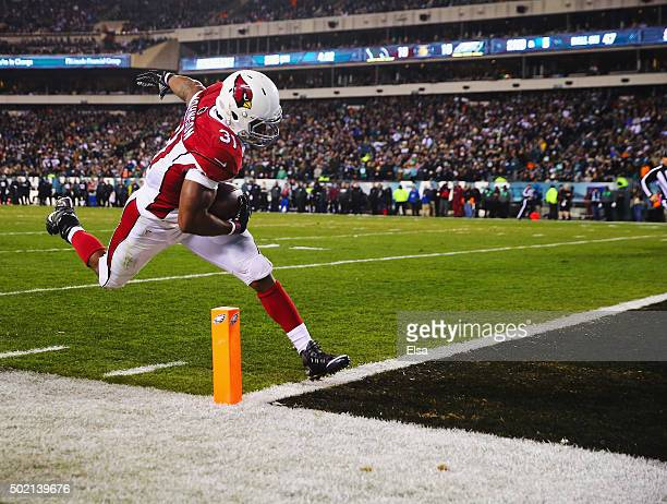David Johnson of the Arizona Cardinals scores a touchdown in the second quarter against the Philadelphia Eagles at Lincoln Financial Field on...