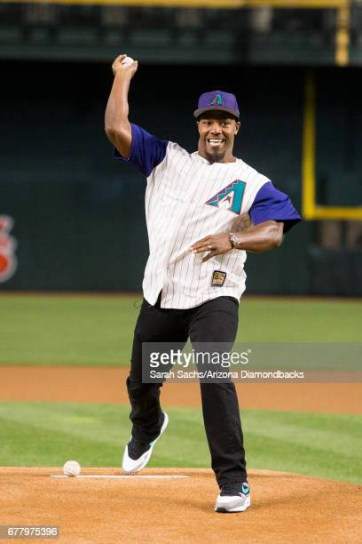 David Johnson of the Arizona Cardinals throws out the ceremonial first pitch at Chase Field on April 6 2017 in Phoenix Arizona