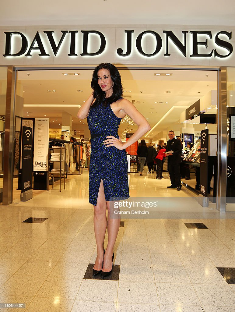 David Jones Brand Ambassador <a gi-track='captionPersonalityLinkClicked' href=/galleries/search?phrase=Megan+Gale&family=editorial&specificpeople=202042 ng-click='$event.stopPropagation()'>Megan Gale</a> poses outside the new David Jones Malvern Central store at the David Jones Malvern Central launch on September 12, 2013 in Melbourne, Australia.